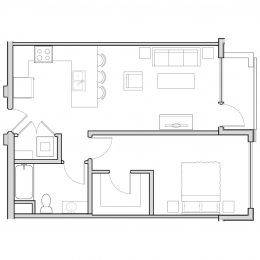 Bell Uptown District 1 bedroom architect drawing of A1B