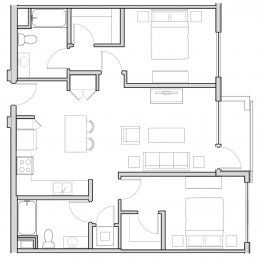 Bell Uptown District 2 bedroom architect drawing of B2A